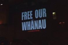 Free West Papua projection onto Media Works building TV3 news Auckland