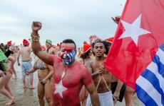 Free West Papua Campaign Netherland Represented New Years Dive 2015 Scheveningen Beach in Netherlands