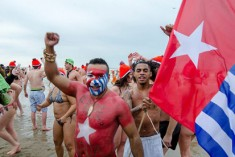 Free West Papua Campaign Netherland Represented New Years Dive 2015 Scheveningen Beach in Netherlands